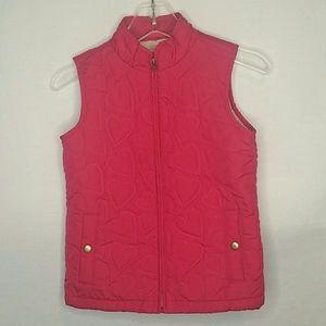 Gap Kids Pink Heart Quilted Vest Size L